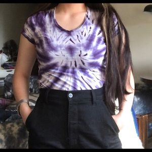 Delias Purple Tie-Dye V-Neck TShirt